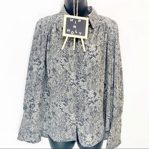 PHILOSOPHY Snake Print Button Down Top Gray Small